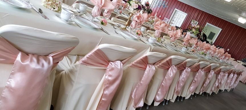 Chairs with pink ribbon
