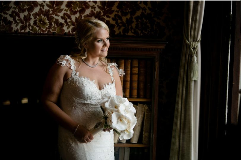 The bride in white gown