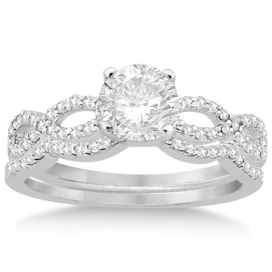 Infinity Diamond Engagement Ring and Wedding Band Set (0.34ct)	  Infinity-style bridal set with...