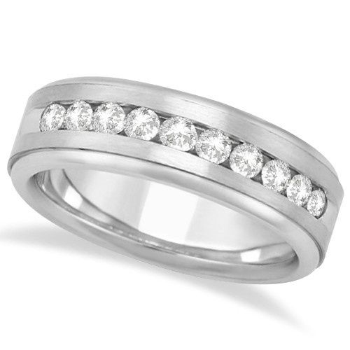 Men's Channel Set Diamond Wedding Ring	  Satin-finished band with 10 channel set round diamonds and...