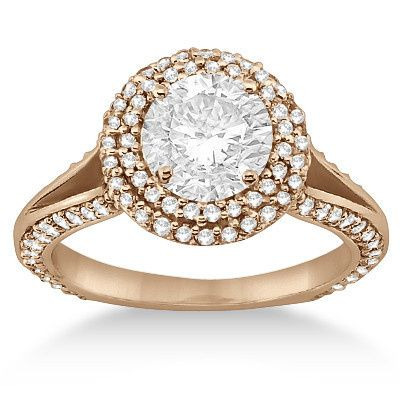 Double Halo Diamond Engagement Ring Setting (1.00ctw)	  Double halo ring with 115 accent diamonds &...