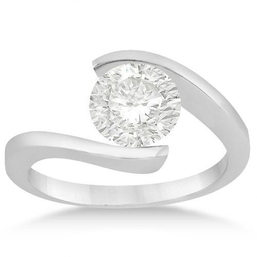 Tension Set Swirl Solitaire Engagement Ring Setting	  Twisted bridal band with solitaire center...