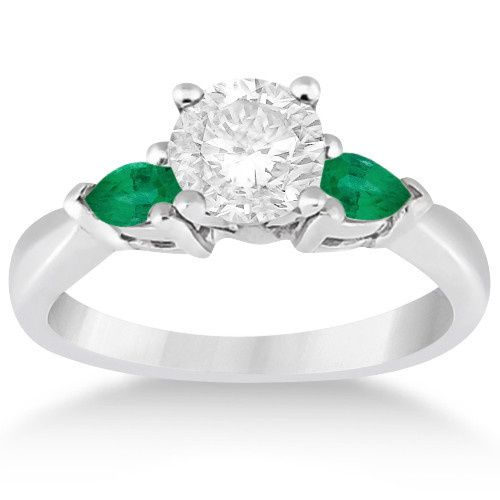 Pear Cut Three Stone Emerald Engagement Ring	  Two pear-cut emeralds offset your choice of center...
