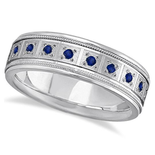 Blue Sapphire Ring for Men Wedding Band	  Twenty pave-set round sapphires circle a comfortable,...