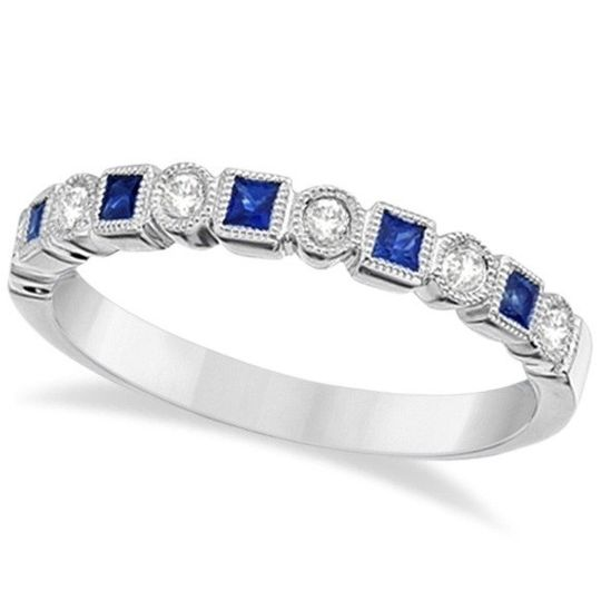 Princess Cut Blue Sapphire & Diamond Ring Band	  Alternating square sapphires and round diamonds...