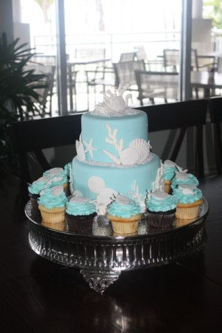 Tmx 1413946592229 Tiffany Blue Seashell Cake And Cupcakes Vero Beach wedding cake