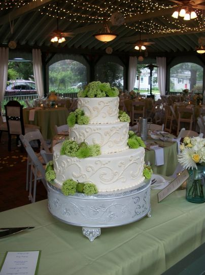 Green Pears and Flowers with a stunning champagne design