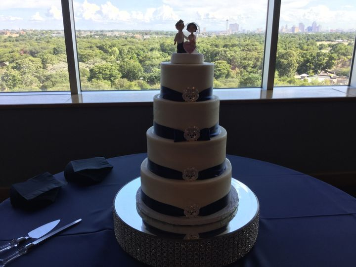 Multiple layered cake in blue setting