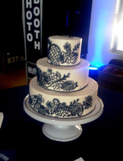 Buttercream covered cake with hand-piped lace design.