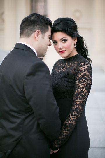 Groom and bride in black