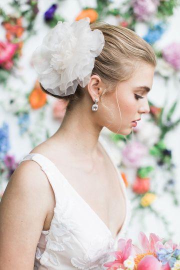 Bridal hair piece and makeup