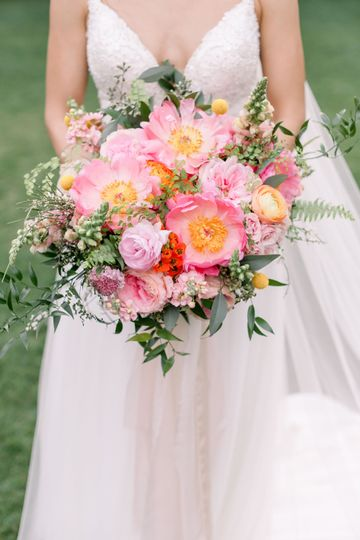 Coral Peony and Garden Roses