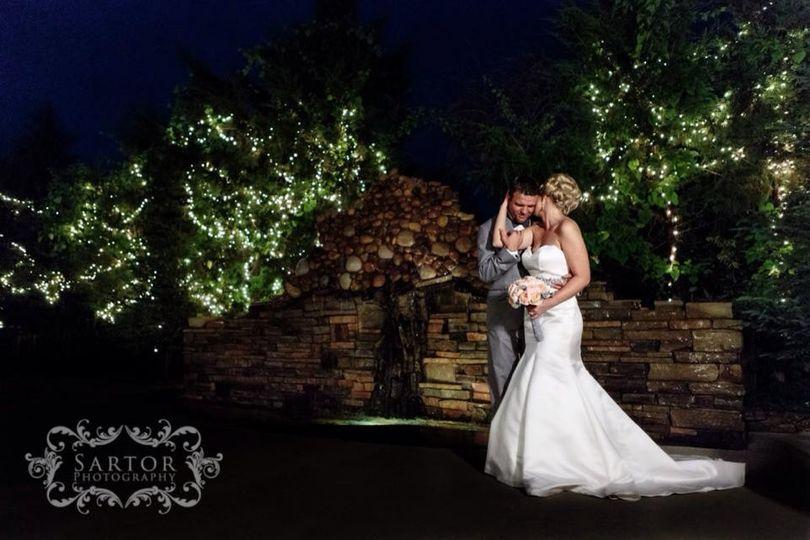 Couple in the wedding garden