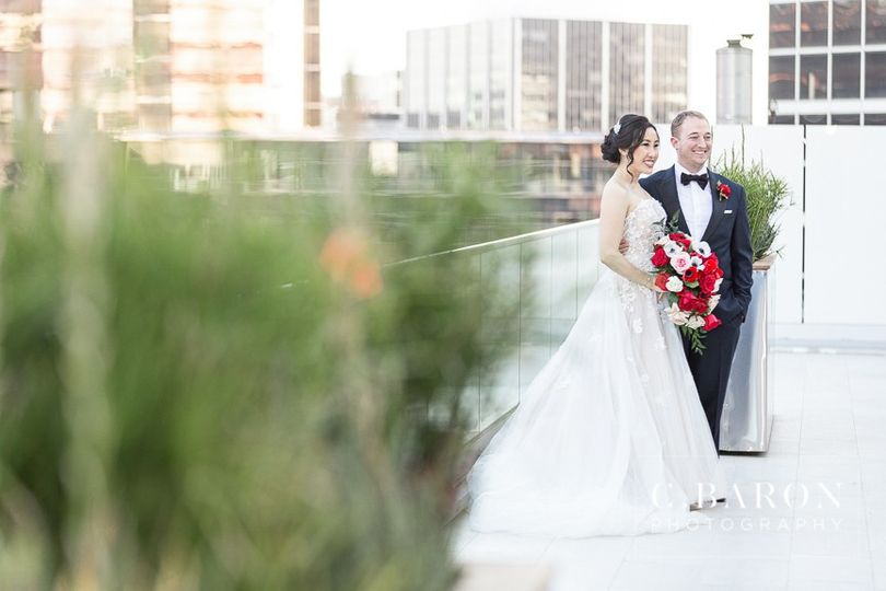 Bride and Groom on Terrace