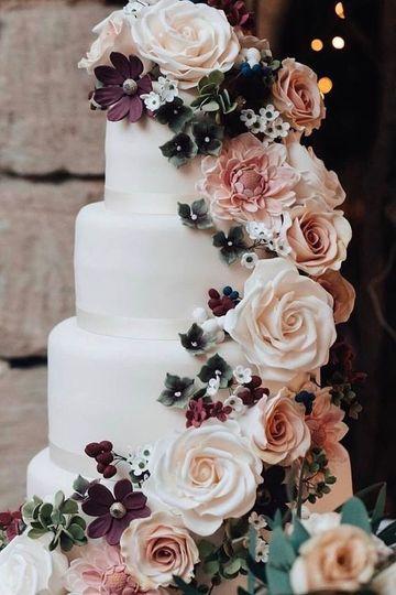 Wedding cake w/floral designs