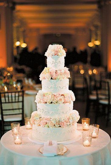 Wedding cake w/white/spring floral designs