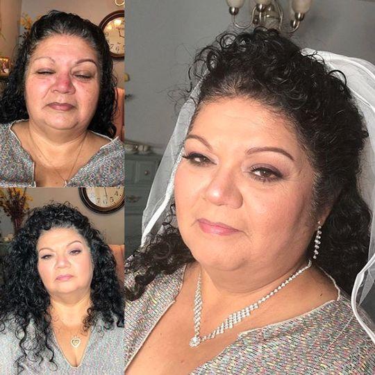 Makeup and veil