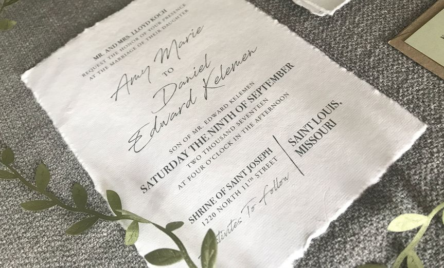 Natural edge invitation