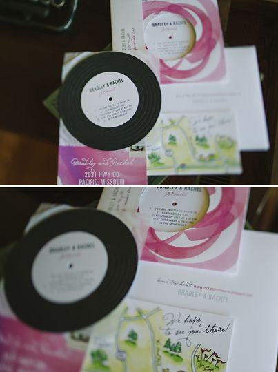 Record + watercolor invitation