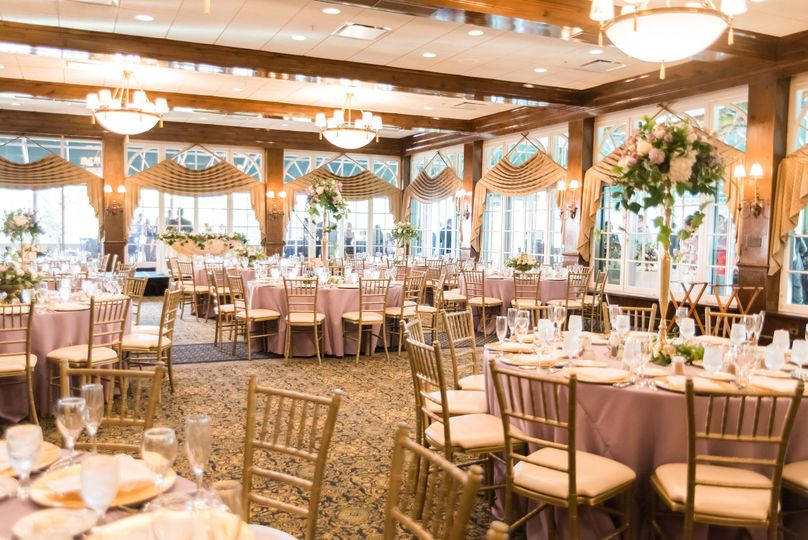 Table setting and floral centerpieces