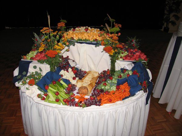 fruit, cheese and crudite display