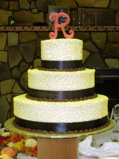 Wedding Cake with White Chocolate Monogram