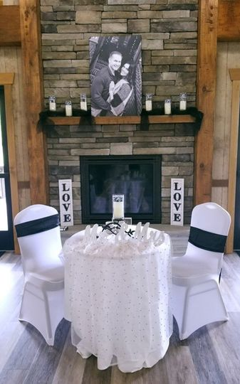 Couple table with fireplace