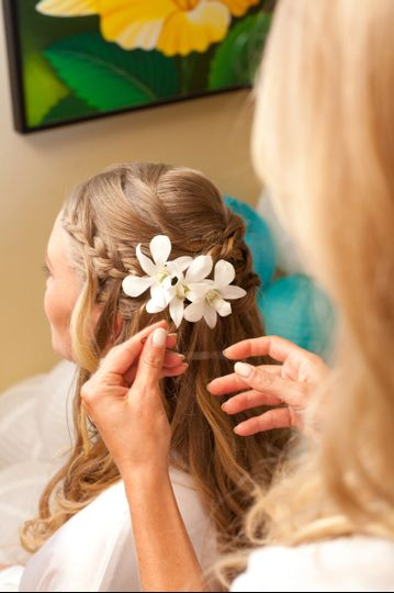 Wedding hair with white flower