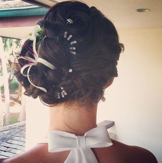 Wedding updo with accessories
