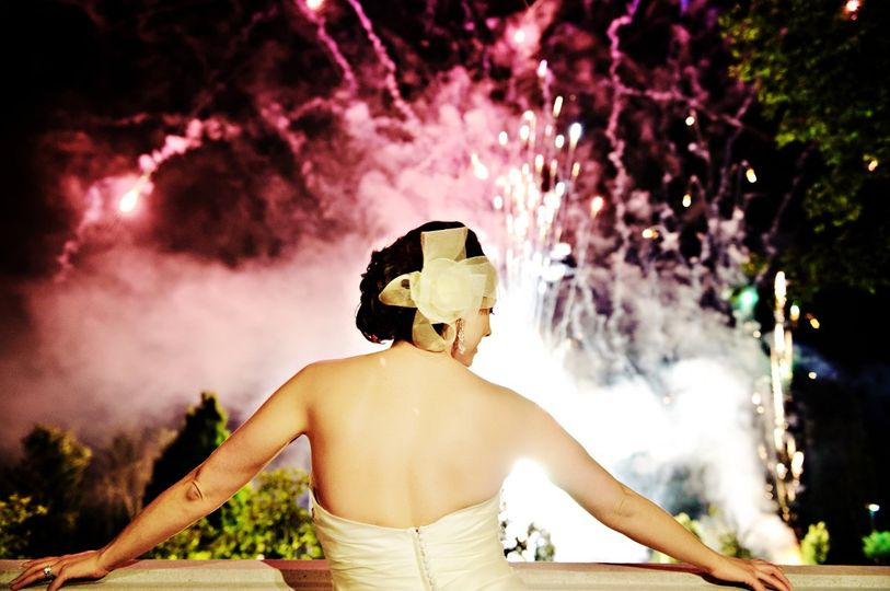 Bride and fireworks