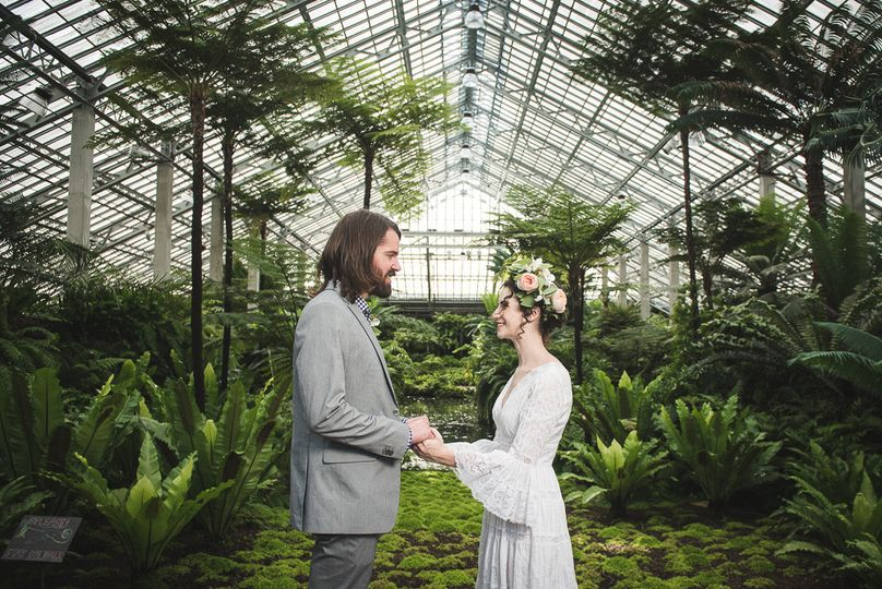 Couple in a greenhouse