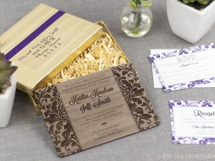 Tmx 1498507779910 Elegant Damask Invitation Walnut 3 Spokane, WA wedding invitation