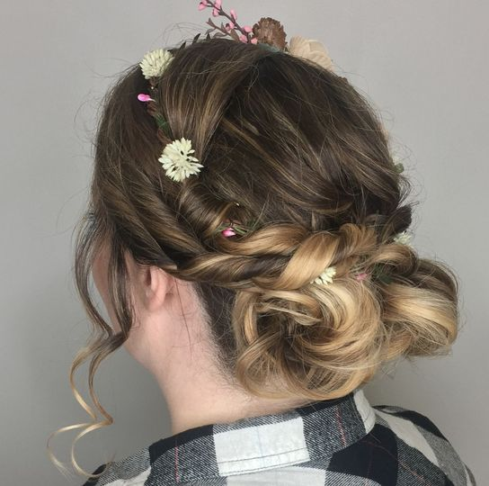Left side view of headband twisted updo