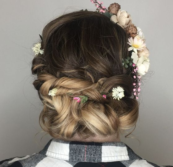 Full view of headband twisted updo