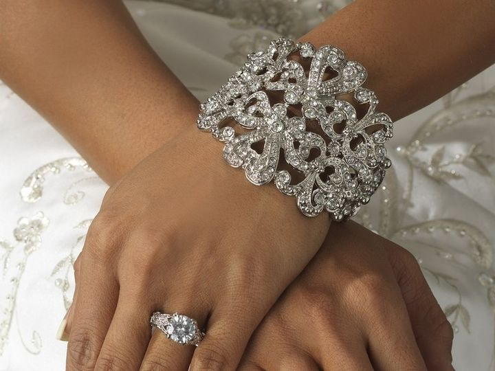 Tmx 1404230427286 New Vintage Style Glam Rhinestone Bridal Cuff Brac Los Angeles wedding jewelry