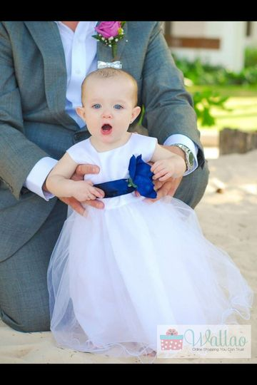 Thank You Maggie Ryan. Flower Girl Dress (FL Style) with Royal Blue Sash and Flower.
