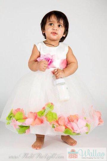 Thank You Gudiya Singh. Flower Girl Dress (Rose Petal Style) with Pink Light, Apple Green, and...