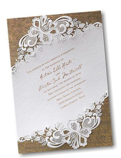 rustic battenburg wedding invitation