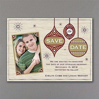 ornamental photo save the date card