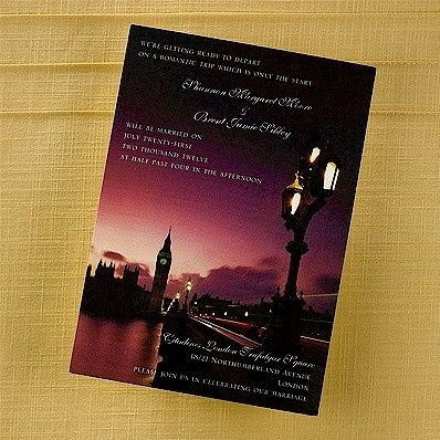 london lights wedding invitation