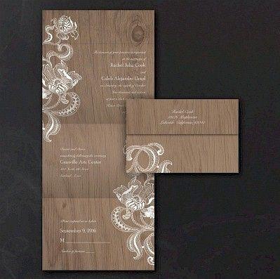 lacy rustic seal n send wedding invitation