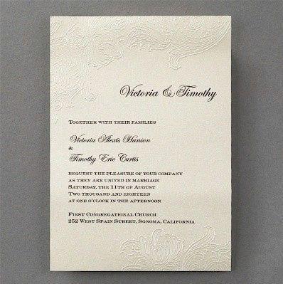 embossed lace wedding invitation