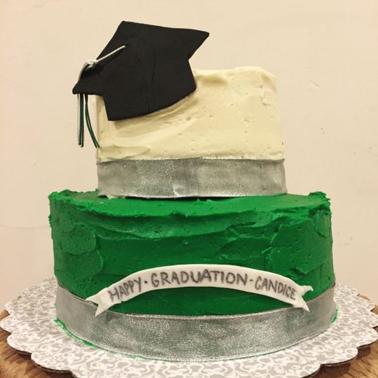 A simple chocolate and vanilla cake with vanilla buttercream for the lucky graduate!