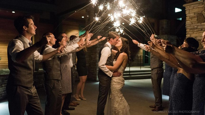 Sparkler celebration for the newlyweds