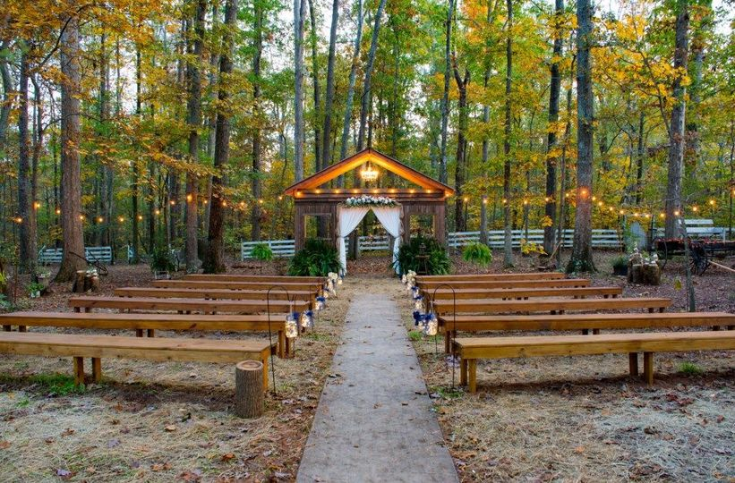 This is where the ceremony takes place, in the woods behind the barn.