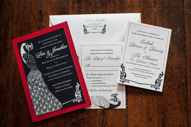 Black and red invitation cover