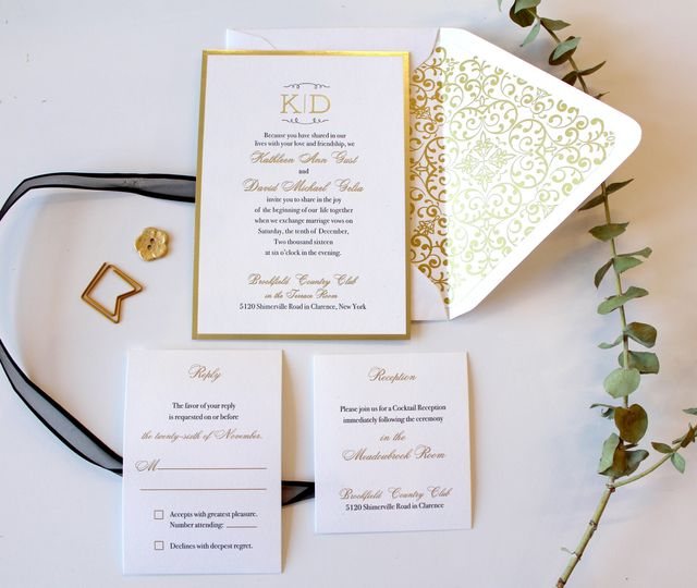 Gold ink on white cards