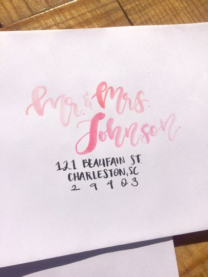 Watercolor and Calligraphy invitation addressing