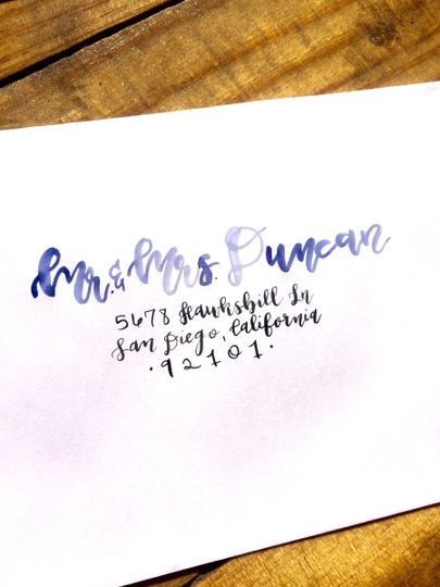 Modern watercolor and calligraphy envelope addressing