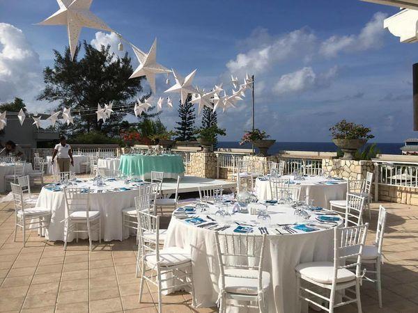Wedding reception set up in Jamaica